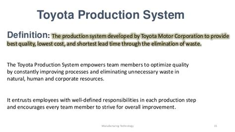 Toyota Production Team Member Description Basic Of Toyota Production System