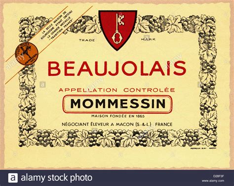 vintage beaujolais mommessin red wine label macon france