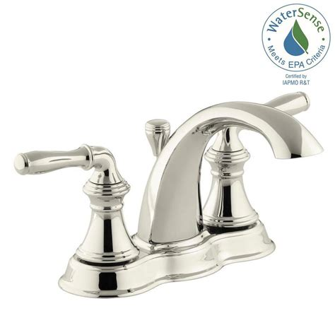 Water Saving Bathroom Faucets by Kohler Devonshire 4 In Centerset 2 Handle Mid Arc Water Saving Bathroom Faucet In Vibrant