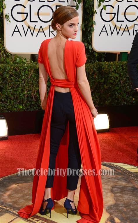 emma watson graduation dress emma watson red backless prom dress 2014 golden globe