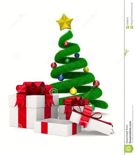 caja del 225 rbol de navidad y de regalo en blanco stock de