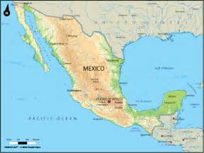 large physical map of mexico