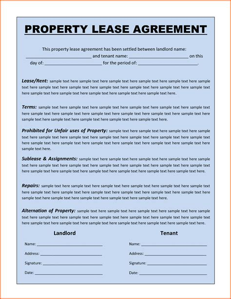 template of a lease agreement for a tenant premium property lease agreement template sle by