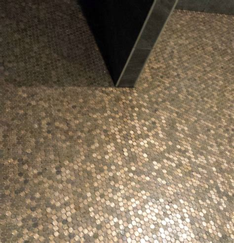 pictures pennies installed as mosaic tile sheets on