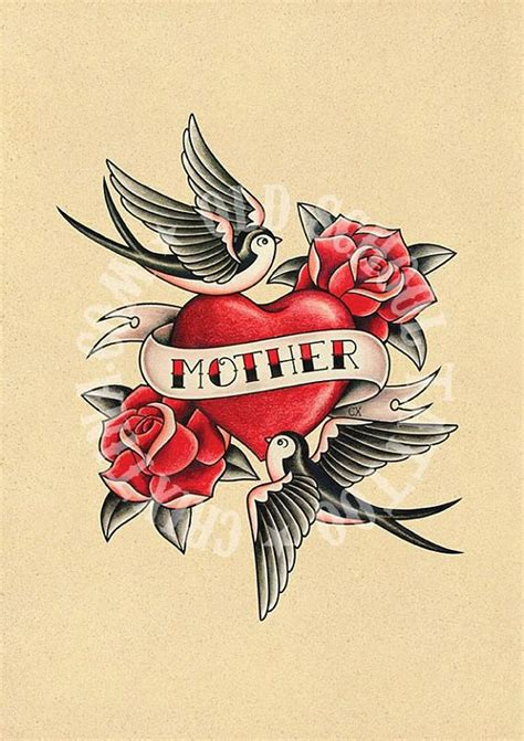 tattoo old school mom mother love heart swallows roses flash tattoo old school