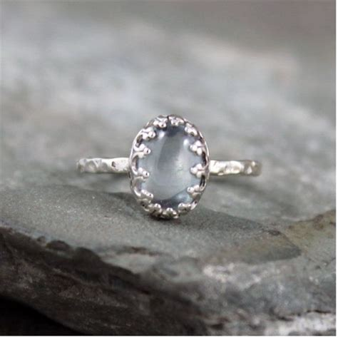 aquamarine sterling silver ring blue gemstone ring
