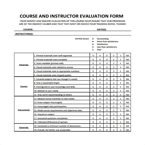 Course Evaluation Letter Instructor Evaluation Form 7 Free Documents In Pdf