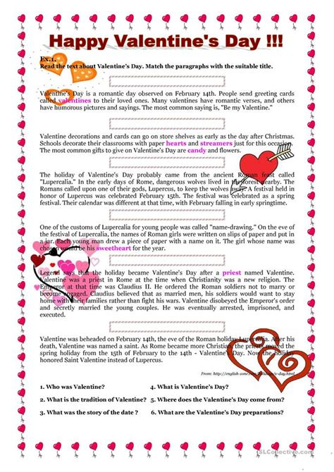 valentines day questions st s story and s quiz worksheet