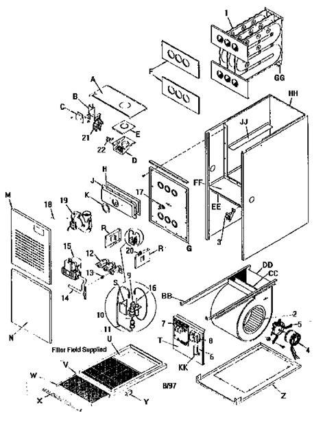 comfort maker parts arcoair comfortmaker furnace parts model guj125n20c2