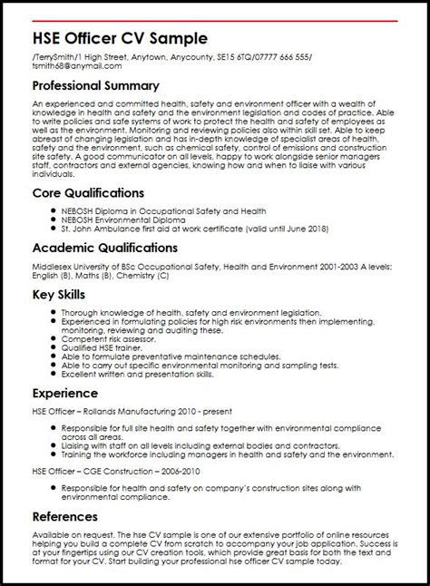 Competency Based Resume Sample by Hse Officer Cv Sample Myperfectcv