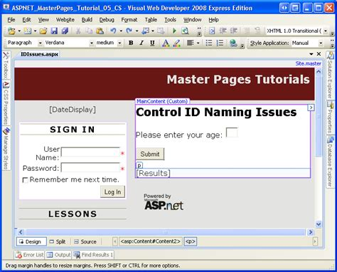 design label in asp net control id naming in content pages c microsoft docs