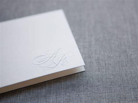 Paper Guppy custom blind embossed monogram invitation abby 183 the