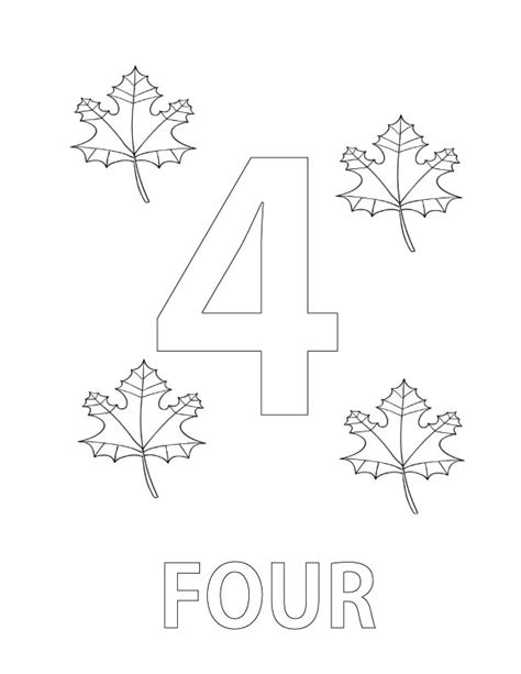 number 4 coloring pages printable coloring pages