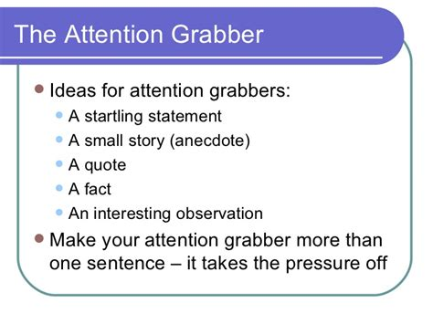 Attention Grabbers For Essays Exles by Attention Grabbers For Essays Writing An Attention Grabber Hook Ayucar