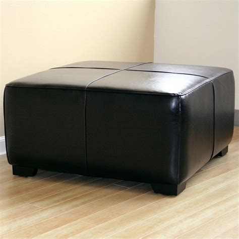 square black leather ottoman square leather ottoman footstool in black y 052 023 black