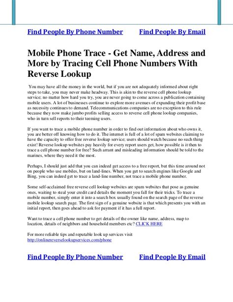 Cell Phone Number Address Search Mobile Phone Trace Get Name Address And More By Tracing Cell Phone