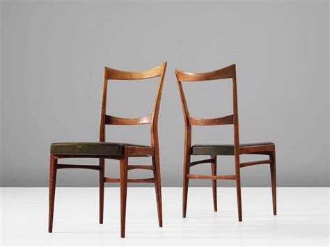 Green Leather Dining Room Chairs Set Of Six Italian Dining Chairs In Walnut And Green Leather Upholstery For Sale At 1stdibs