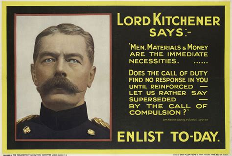 Who Is Lord Kitchener by Recruiting Poster Lord Kitchener Says Enlist To Day