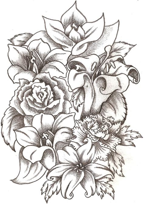bunch of roses tattoo floral bouquet by thelob on deviantart
