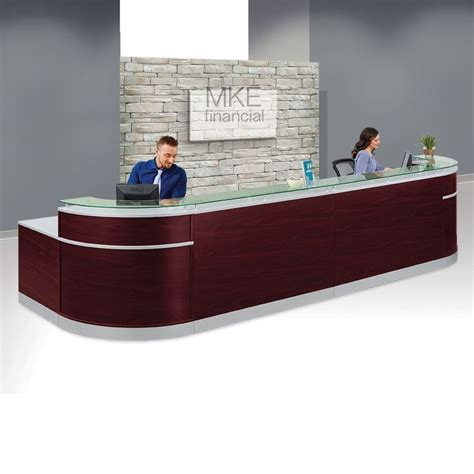 glass top reception desk esquire glass top reception desk 190 quot w x 64 quot d d
