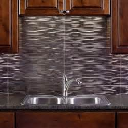 Kitchen Wall Backsplash Panels Fasade 24 In X 18 In Waves Pvc Decorative Tile Backsplash In Brushed Nickel B65 29 The Home