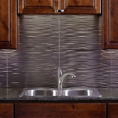 fasade 24 in x 18 in waves pvc decorative tile backsplash in brushed nickel b65 29 the home