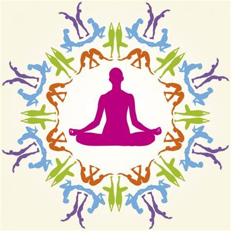 imagenes yoga vector siluetas coloridas de posturas de yoga descargar
