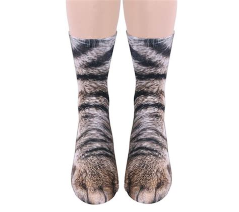 cat sock socks that look like realistic and cat paws geekologie