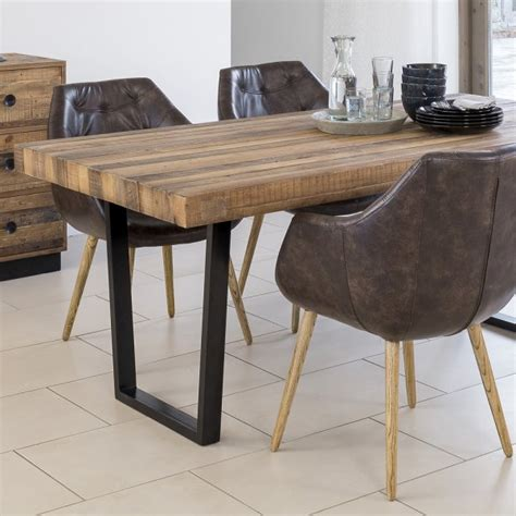 buy recycled wood plank top dining table chunky metal