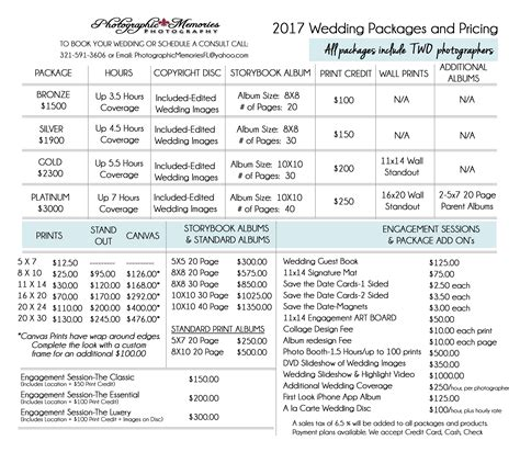 wedding price list 2017 wedding price list 187 photographic memories