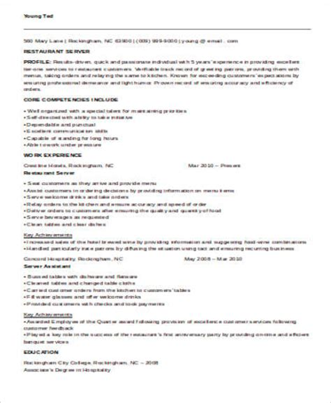 Resume Templates Server Sle Restaurant Server Resume 6 Exles In Word Pdf