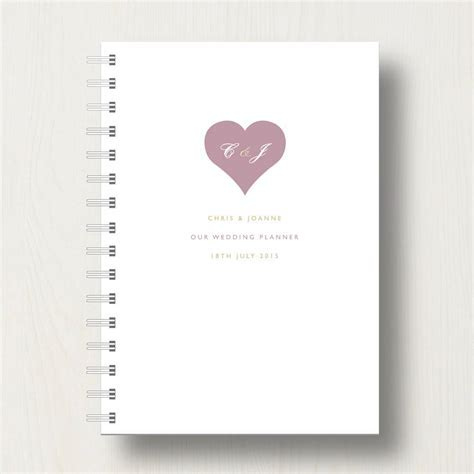 personalised wedding planner journal by designed