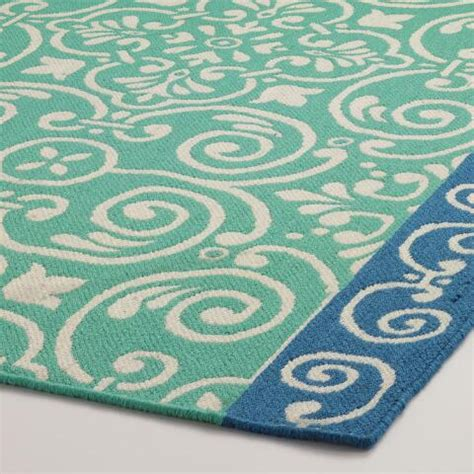 turquoise outdoor rug blue bordered turquoise tiles indoor outdoor rug world market