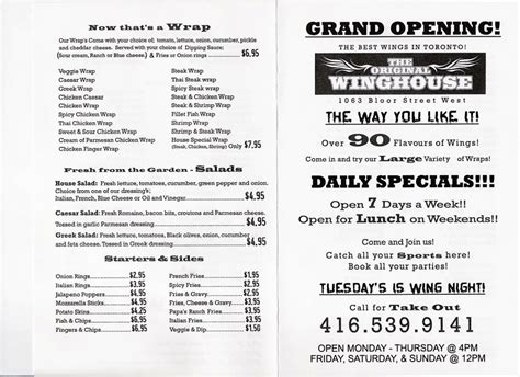 Wing House Menu by The Wing April 2006