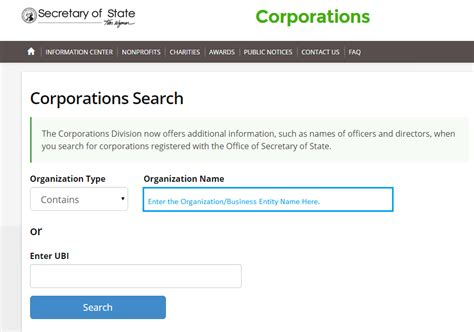 Washington Name Search Washington Business Entity And Corporation Search Wa Of State Sos