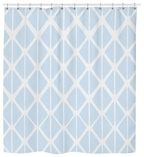 blue geometric drapes hawkerpeddler blue geometric shower curtain view in