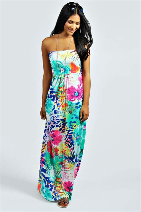60s Spiro Printed Maxi Dress In Blue And Purple by Printed Bandeau Maxi Dress Take A Look And You Ll