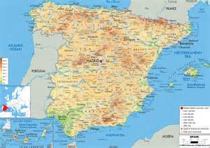 Spain Map by Large Detailed Physical Map Of Spain With All Roads