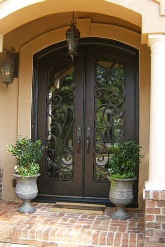 Iron Front Doors For Homes Custom Wrought Iron Entry Door With Arch Top For