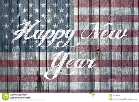 happy new year concept with american flag stock