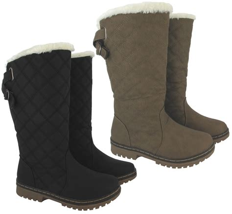 warm boots womens new winter womens quilted grip sole mid calf fur