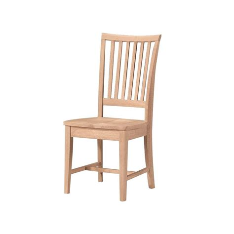 Dining Room Chairs Wood International Concepts Unfinished Wood Mission Dining Chair Set Of 2 265p The Home Depot