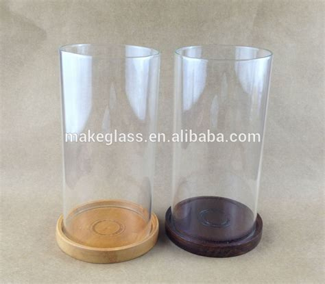 Glass Candle Base Wooden Base Cylinder Glass Candle Holder Frosted Glass