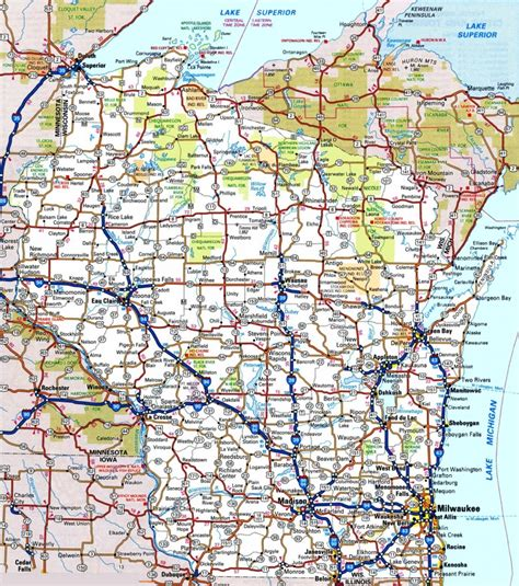 driving map of wisconsin wisconsin road map
