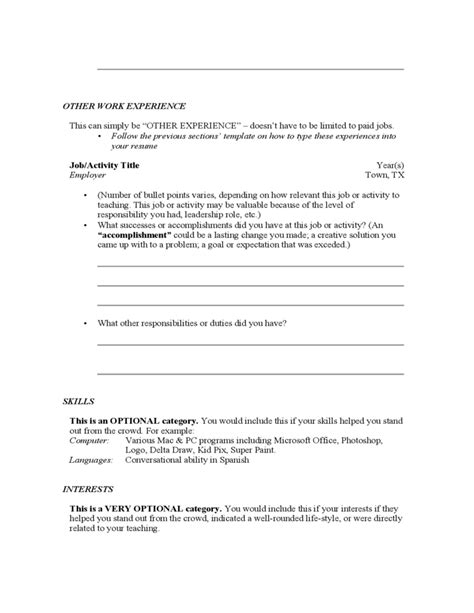 resume for teachers template template of resume free