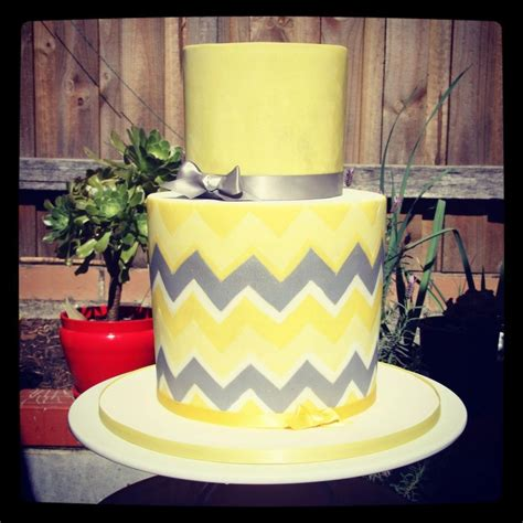 Yellow And Grey Baby Shower Cake by Yellow Grey Chevron Baby Shower Cake Cakecentral
