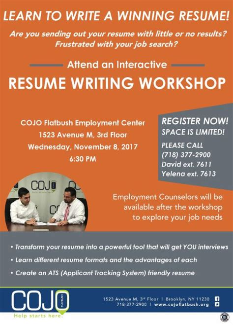 october 24 2017 free resume writing workshop to