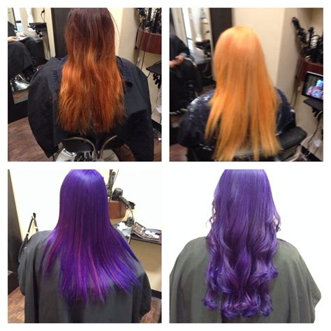 Before During And After Purple Hair Color Done By Elyse