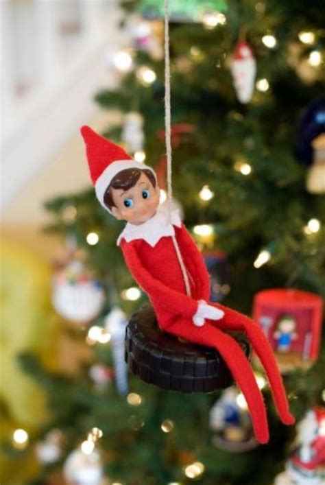 elf on the shelf swing elf in the shelf tire swing christmas projects pinterest