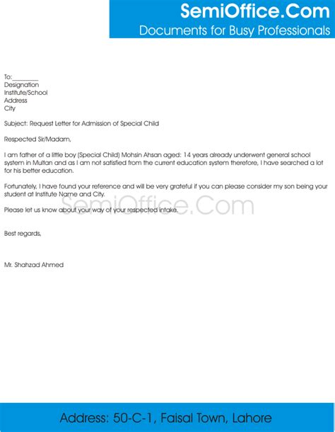Request Letter Format In School Request Letter For Admission To School Principal